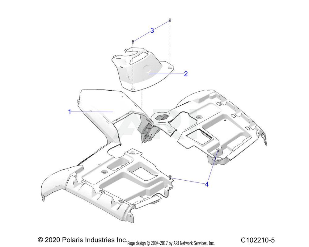 Polaris OEM 5454718-070 COVER-FR, UVSR, BASIC, BLK