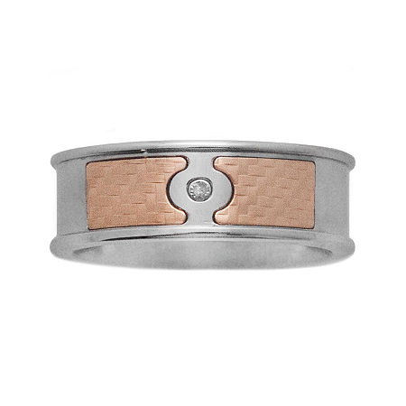 Mens 18K Yellow Gold & Stainless Steel Diamond-Accent Band, 13 , Multiple Colors