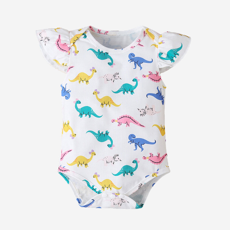 Baby Dinosaur Print Fly Sleeves Cotton Casual Rompers For 6-24M