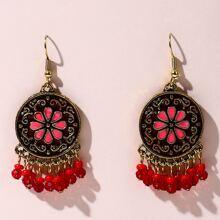 Floral Pattern Tassel Drop Earrings