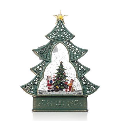 LED Christmas Tree with Glittery Swirl Water Globe, 11.5'', Battery-Operated