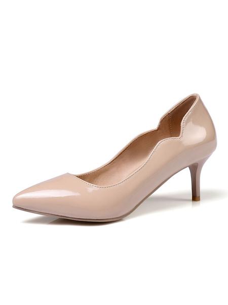 Milanoo Nude Kitten Heels Women Dress Shoes Pointed Toe Slip On Pumps