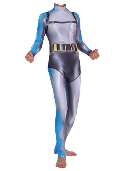 Milanoo Fortnite Cosplay Costumes Shark Fortnite Jumpsuit Lycra Spandex Light Gray Game Halloween Costumes