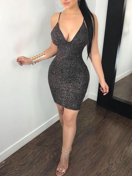 Milanoo Sexy Club Dress Black V Neck Backless Cut Out Shaping Mini Dress