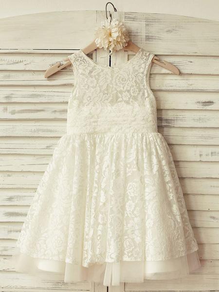 Milanoo Flower Girl Dresses Jewel Neck Tulle Sleeveless Knee Length Princess Silhouette Lace Kids Party Dresses
