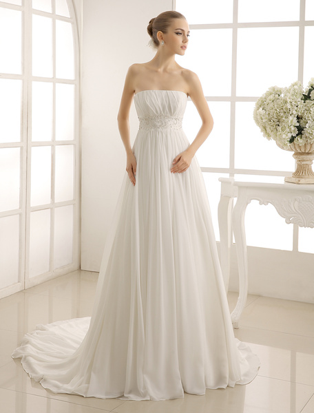 Milanoo Strapless Lace Wedding Dress With Pleated Chiffon