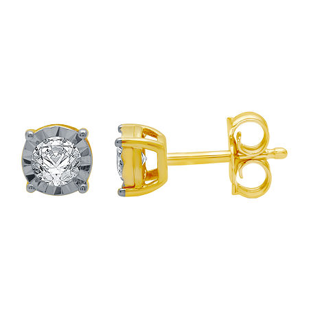 1/5 CT. T.W. Genuine White Diamond 10K Gold 5.3mm Stud Earrings, One Size , No Color Family
