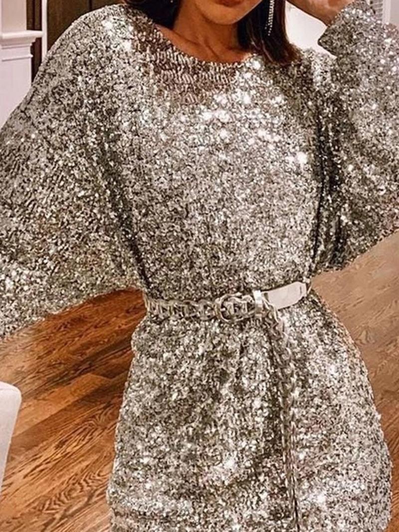 Ericdress Long Sleeve Sequins Above Knee A-Line Plain Dress