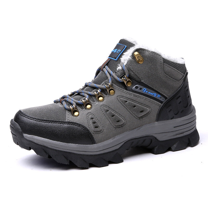 Men Outdoor Slip Resistant Warm Plush Lining Lace Up Casual Hiking Boots