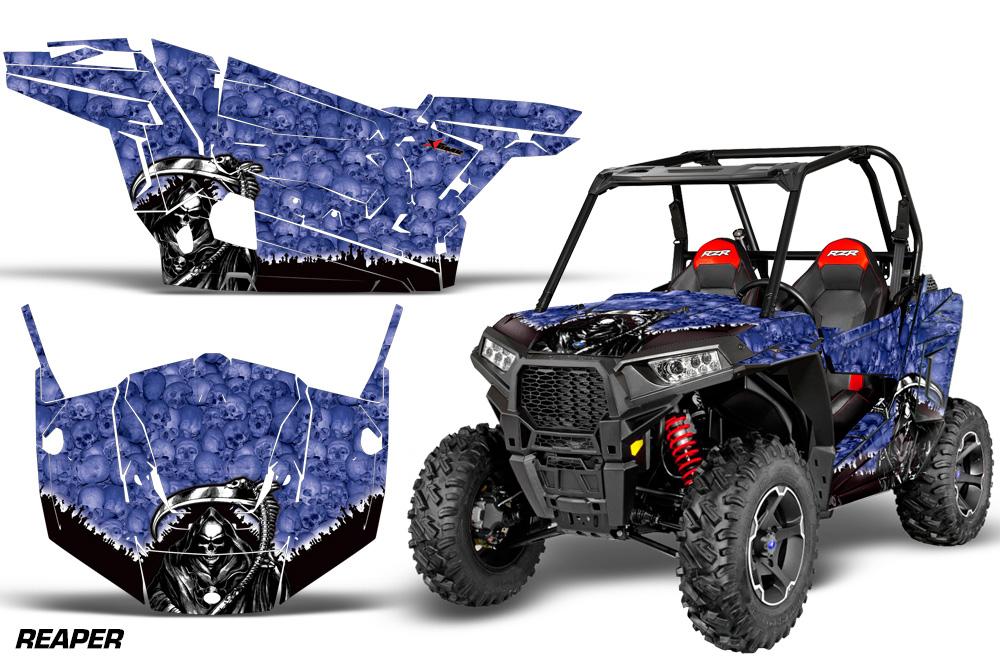 AMR Racing  Full Custom UTV Graphics Decal Kit Wrap Reaper Blue Polaris RZR S 900 15-16