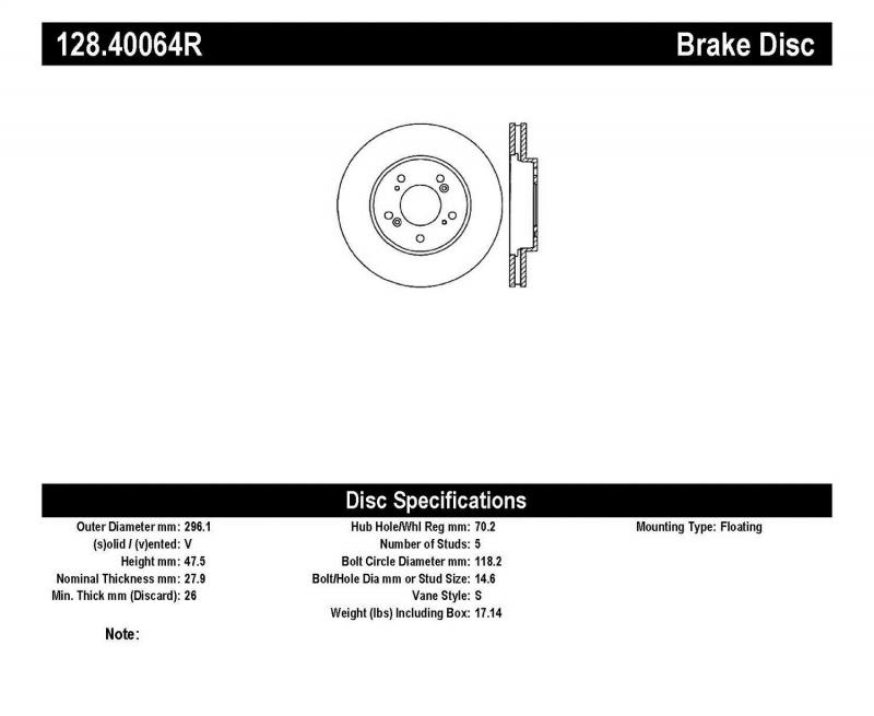 StopTech 128.40064R Sport Cryo Cross Drilled Brake Rotor; Front Left Honda Odyssey Front Right 2005-2010