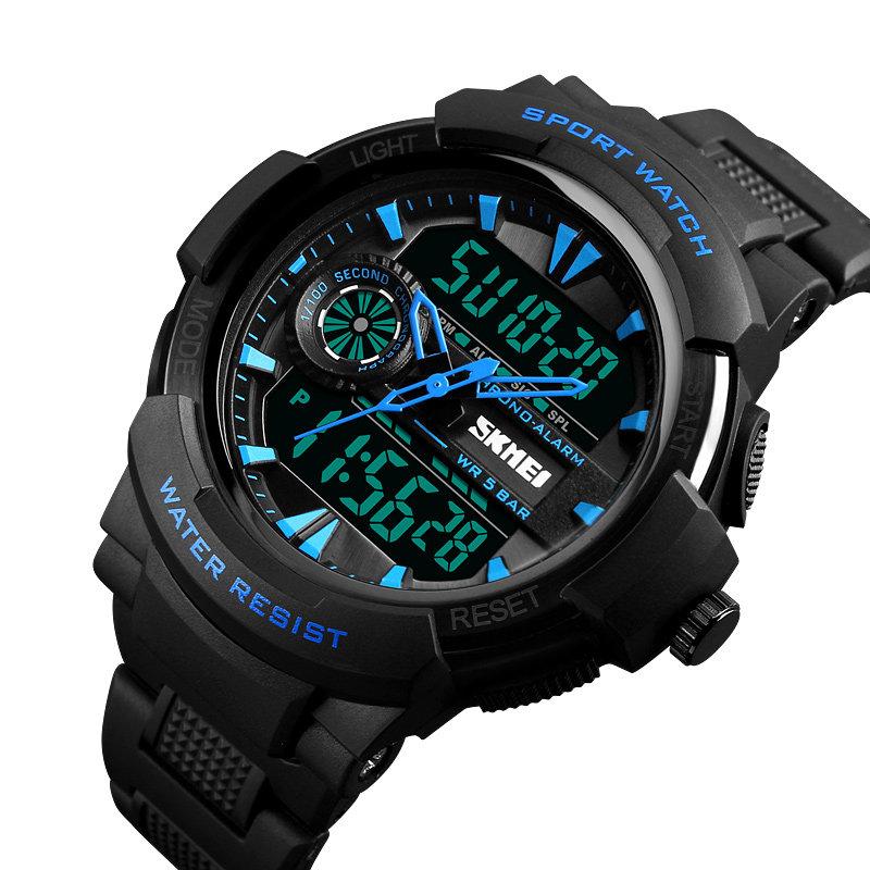 SKMEI Dual Display Digital Mens Watches Chronograph Alarm Watch Fashion Waterproof Sport Watch