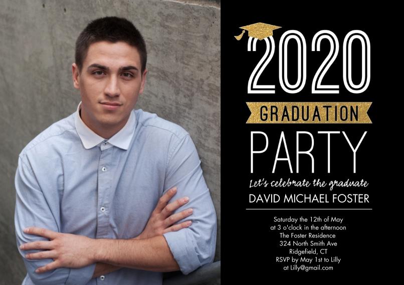 2020 Graduation Invitations Flat Glossy Photo Paper Cards with Envelopes, 5x7, Card & Stationery -2020 Graduation Invite Cap by Tumbalina