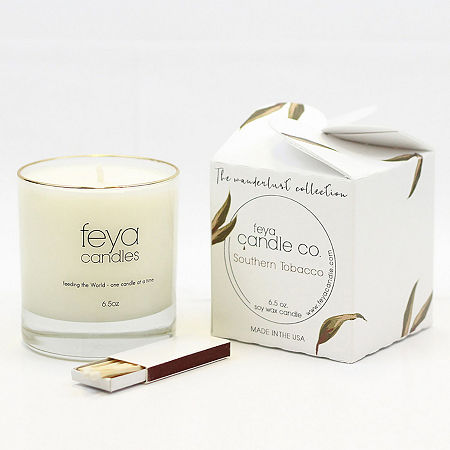 Feya Candle 6.5oz Southern Tobacco Soy Candle, One Size , White