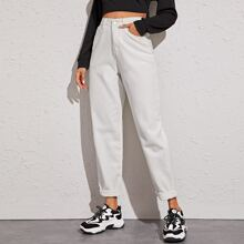 Solid High Waist Mom Jeans