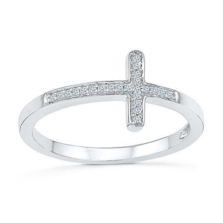 Womens Diamond Accent Genuine White Diamond Sterling Silver Cross Delicate Cocktail Ring, 7 1/2 , No Color Family