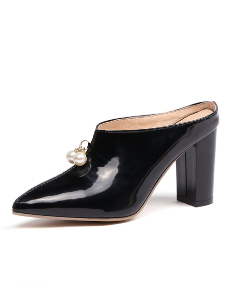 Milanoo High Heel Mules Red Pointed Toe Pearls Backless Mule Shoes For Women