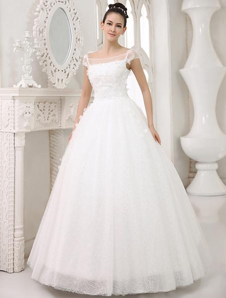 Milanoo Ivory A-line Square Neck Sequin Floor-Length Wedding Dress For Bride