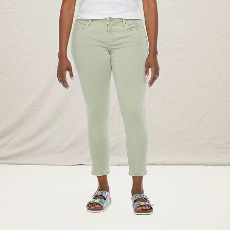 a.n.a-Tall Womens Mid Rise Skinny Ankle Jean, 18 Tall , Green