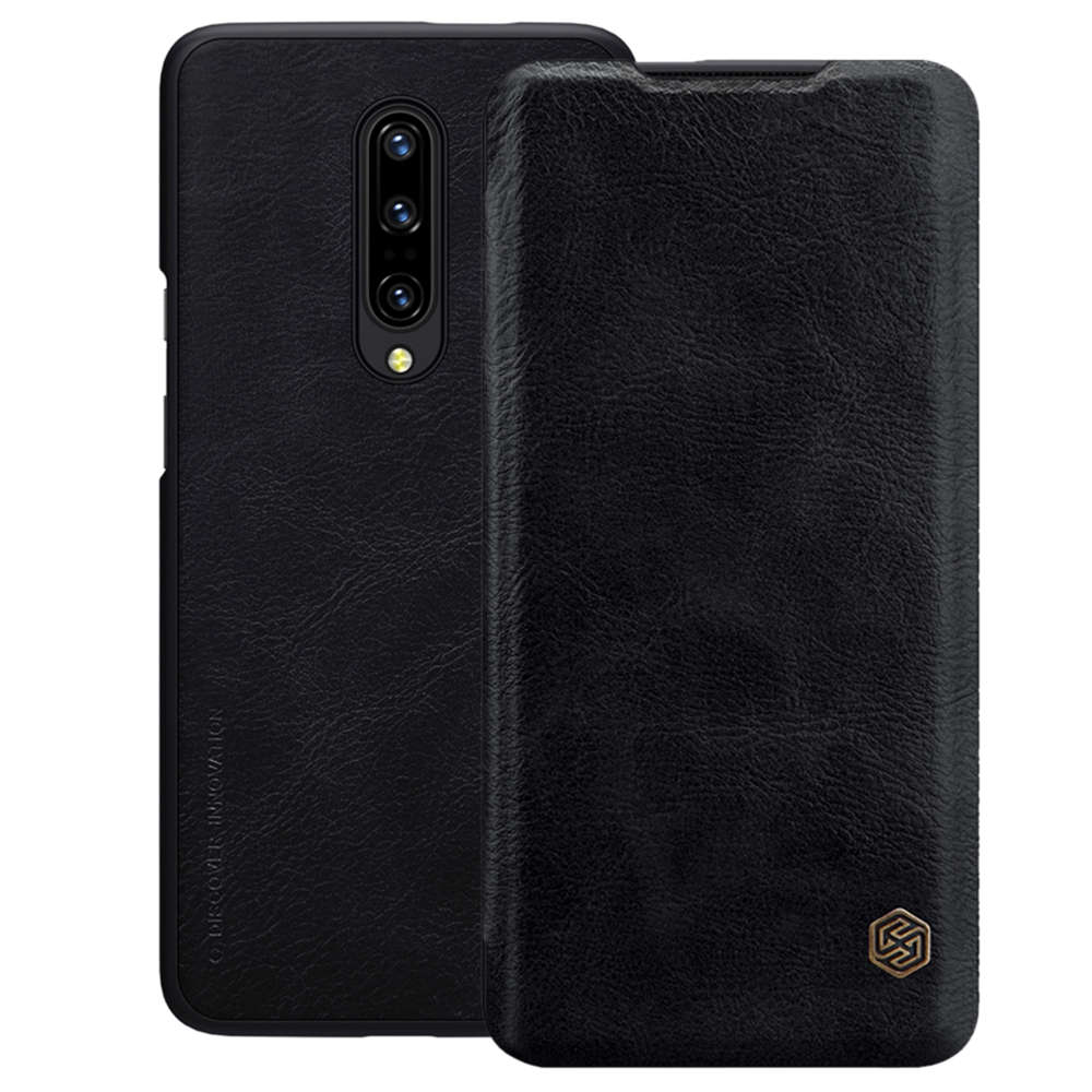 NILLKIN Protective Leather Phone Case for Oneplus 7 Pro Back Cover - Black