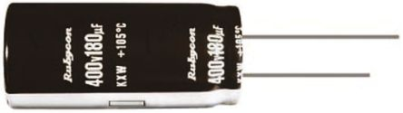 Rubycon 100μF Electrolytic Capacitor 400V dc, Through Hole - 400KXW100MEFC16X30