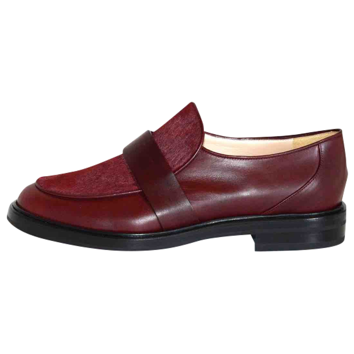Casadei \N Burgundy Leather Flats for Women 36.5 EU