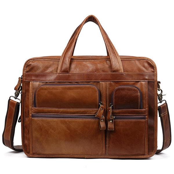 Ekphero Vintage Genuine Leather Large Capacity Business Crossbody Bag For Men