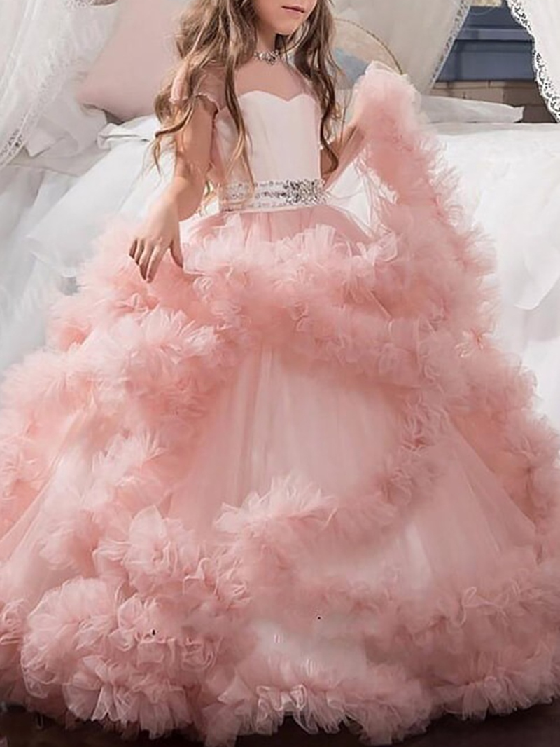 Ericdress Beading Ruffles Ball Gown Flower Girl Dress