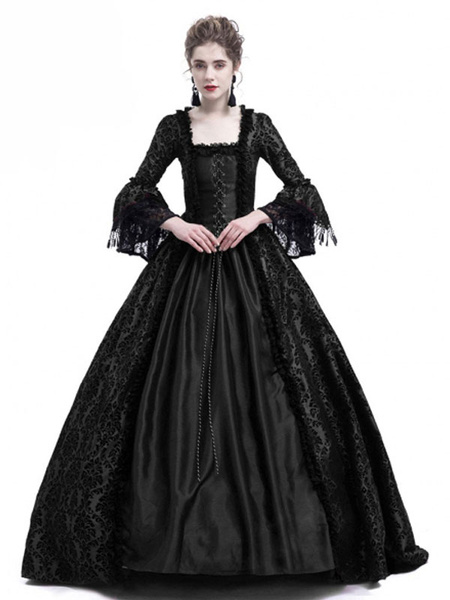 Milanoo Victorian Dress Costume Women's Long Gothic Trumpet Long sleeves Black Ball Gown Square neckline Victorian Era Clothing with hat Retro Costume