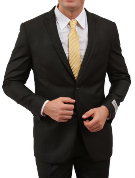 2 Button Black Front Closure Satin Trim Suit Mens Cheap