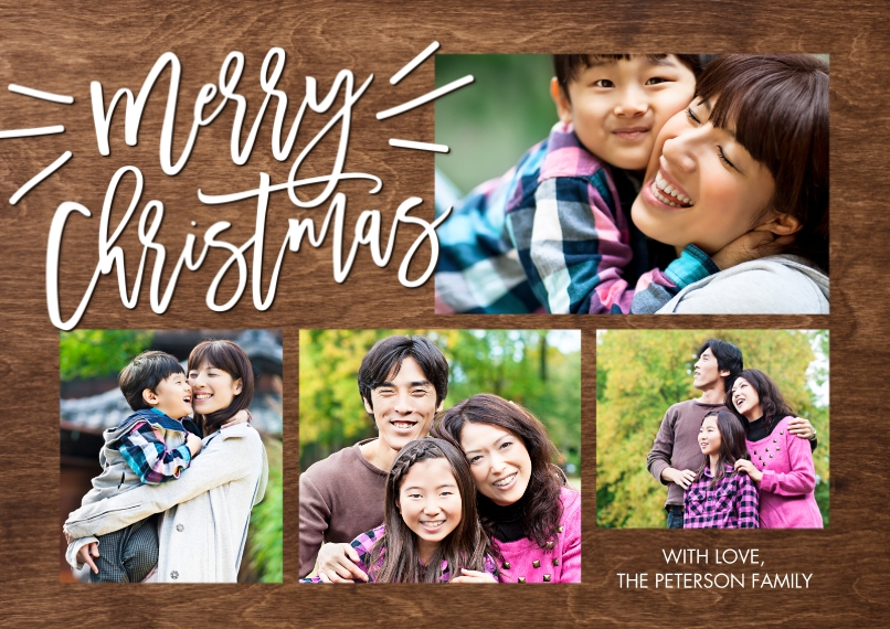 Christmas Photo Cards Flat Matte Photo Paper Cards with Envelopes, 5x7, Card & Stationery -Christmas Woodgrain Merry by Tumbalina