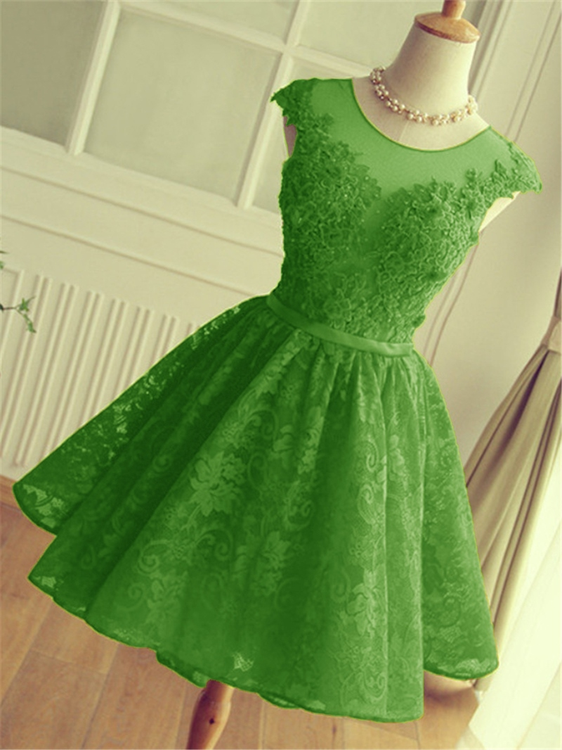 Ericdress A-Line Cap Sleeves Lace Homecoming Dress With Appliques And Beadings