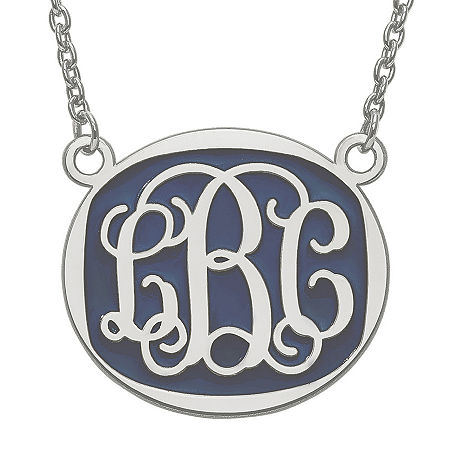 Personalized 26mm Sterling Silver Enamel Oval Monogram Necklace, One Size , No Color Family