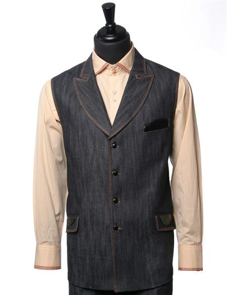 Men's Double Breasted Black Denim Vegan Leather Vest Walking Suit