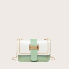 Stitch Detail Colorblock Crossbody Bag