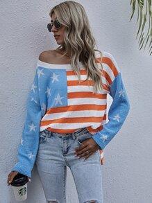 American Flag Pattern Drop Shoulder Oversized Sweater