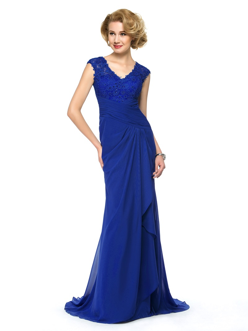 Exquisite V-Neck Lace Beading Sweep Train Long Mother of the Bride Dress