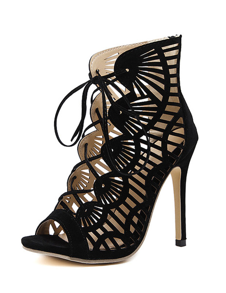 Milanoo Black Sandal Booties Suede High Heel Peep Toe Lace Up Cut Out Stiletto Heel Sandals