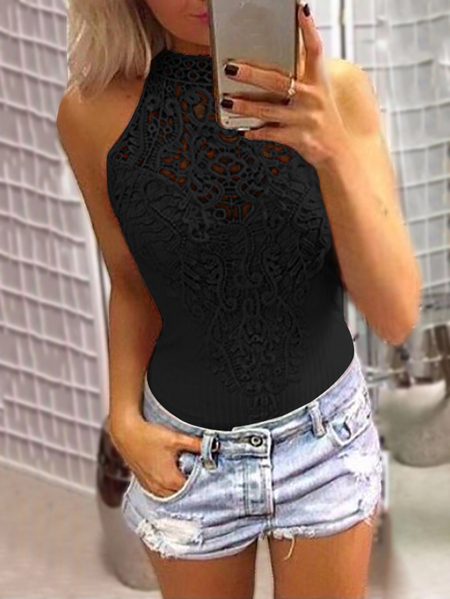 Yoins Black Sexy Lace Overlay Hollow Out Halter Neck Sleeveless Bodysuit