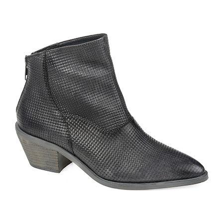 Journee Signature Womens Cassie Booties Stacked Heel, 10 Medium, Gray