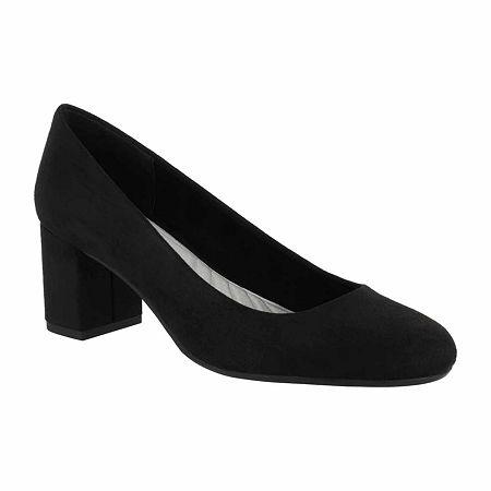 Easy Street Womens Proper Pumps Block Heel, 7 1/2 Wide, Black