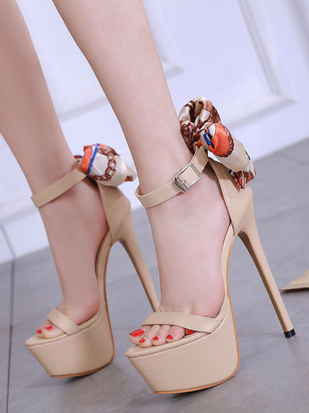 Milanoo High Heel Sandals Women Sexy Shoes Apricot Platform Bow Ankle Strap Sandal Shoes