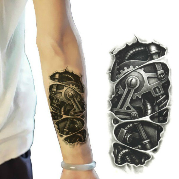 3D Machine Pattern Arm Waterproof Temporary Transfer Tattoo Sticker