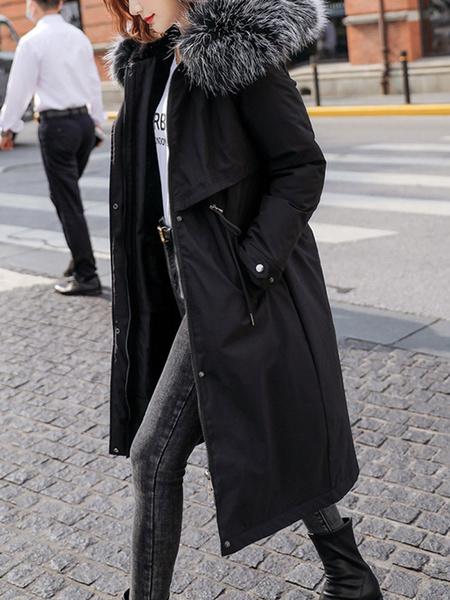 Milanoo Women Parka Coats Ecru White Fur Hooded Long Sleeve Drawstring Maxi Coat