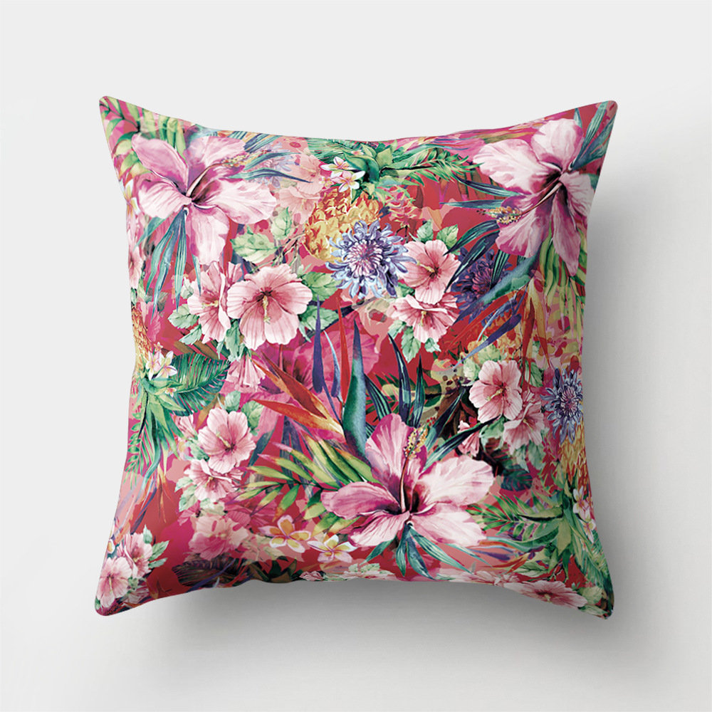INS Style Flower Floral Printed Microfiber Cushion Cover Home Sofa Office Seat Art Decor