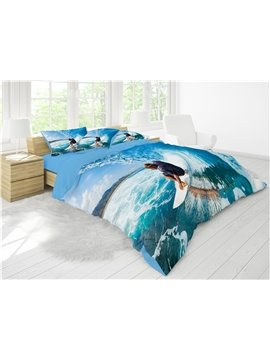 Cool Surfing Reactive Printing Cotton 4-Piece 3D Bedding Sets/ Duvet Cover Sets