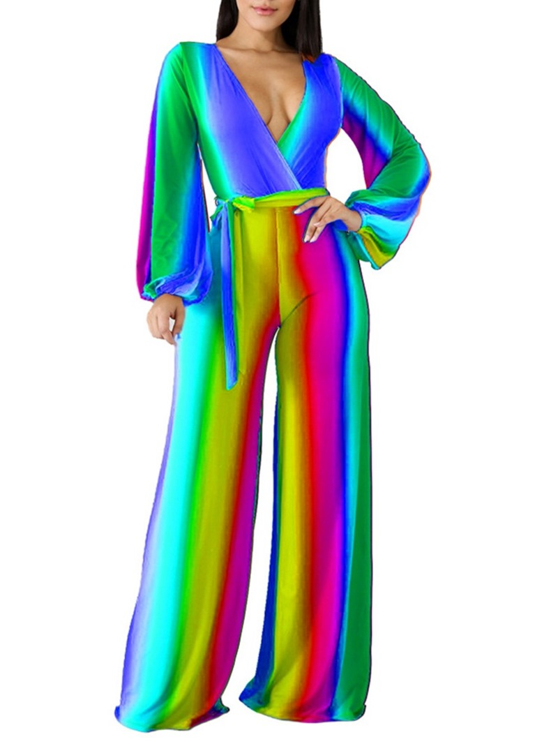 Ericdress Gradient Stripe Sexy Slim Jumpsuit