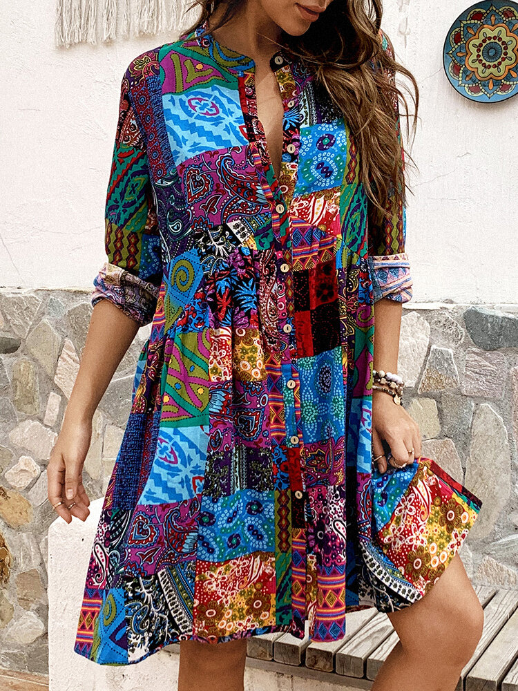 Ethnic Print Long Sleeve Vintage Stand Collar Dress For Women