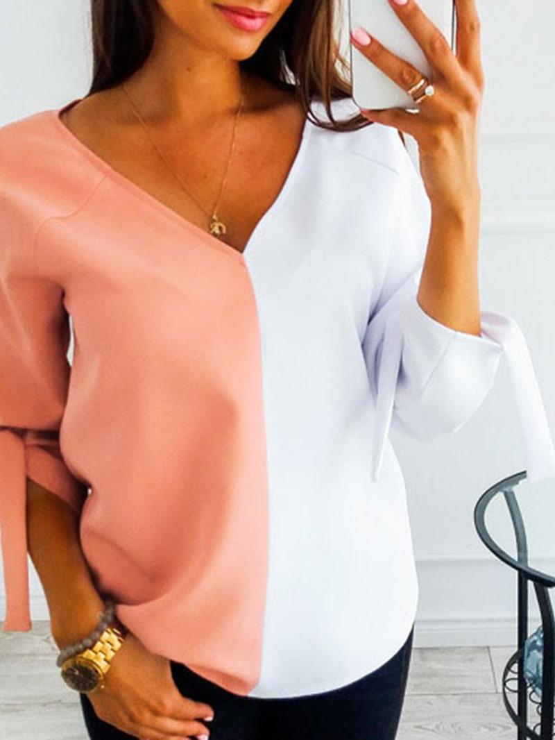 Ericdress V-Neck Standard Color Block Fashion Spring T-Shirt