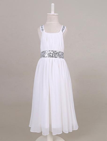 Milanoo Chiffon Flower Girl Dress Sequin Back Criss-cross Tea-length Toddler's Dinner Dress